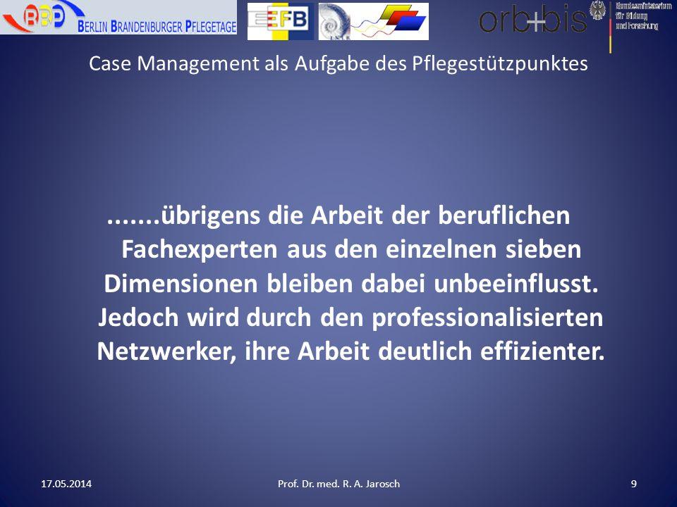 Case Management als Aufgabe des Pflegestützpunktes.......übrigens die Arbeit der beruflichen Fachexperten aus den einzelnen sieben Dimensionen bleiben dabei unbeeinflusst.