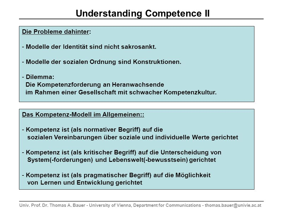 Univ. Prof. Dr. Thomas A. Bauer - University of Vienna, Department for Communications - thomas.bauer@univie.ac.at Understanding Competence II Die Prob
