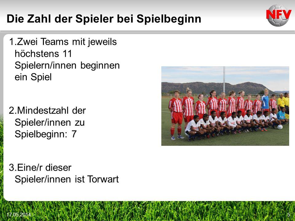 Die Zahl der Spieler bei Spielbeginn 17.05.20145 1.Zwei Teams mit jeweils höchstens 11 Spielern/innen beginnen ein Spiel 2.Mindestzahl der Spieler/inn