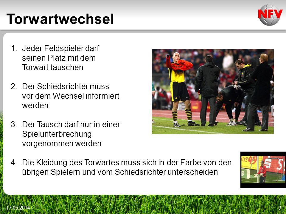 Torwartwechsel 17.05.20149 1.Jeder Feldspieler darf seinen Platz mit dem Torwart tauschen 2.