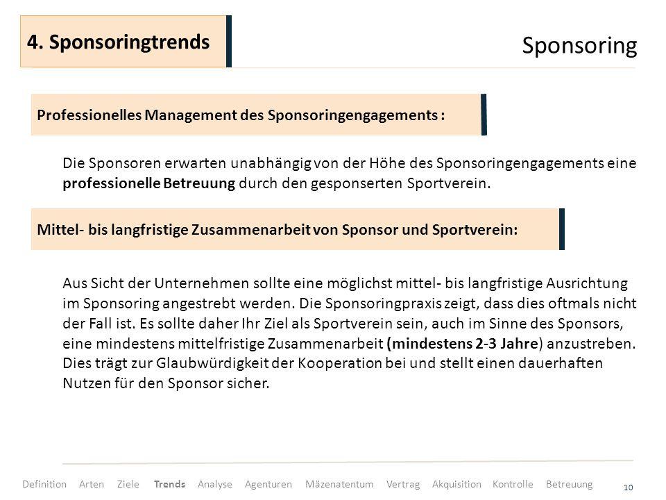 Sponsoring 10 Die Sponsoren erwarten unabhängig von der Höhe des Sponsoringengagements eine professionelle Betreuung durch den gesponserten Sportverei