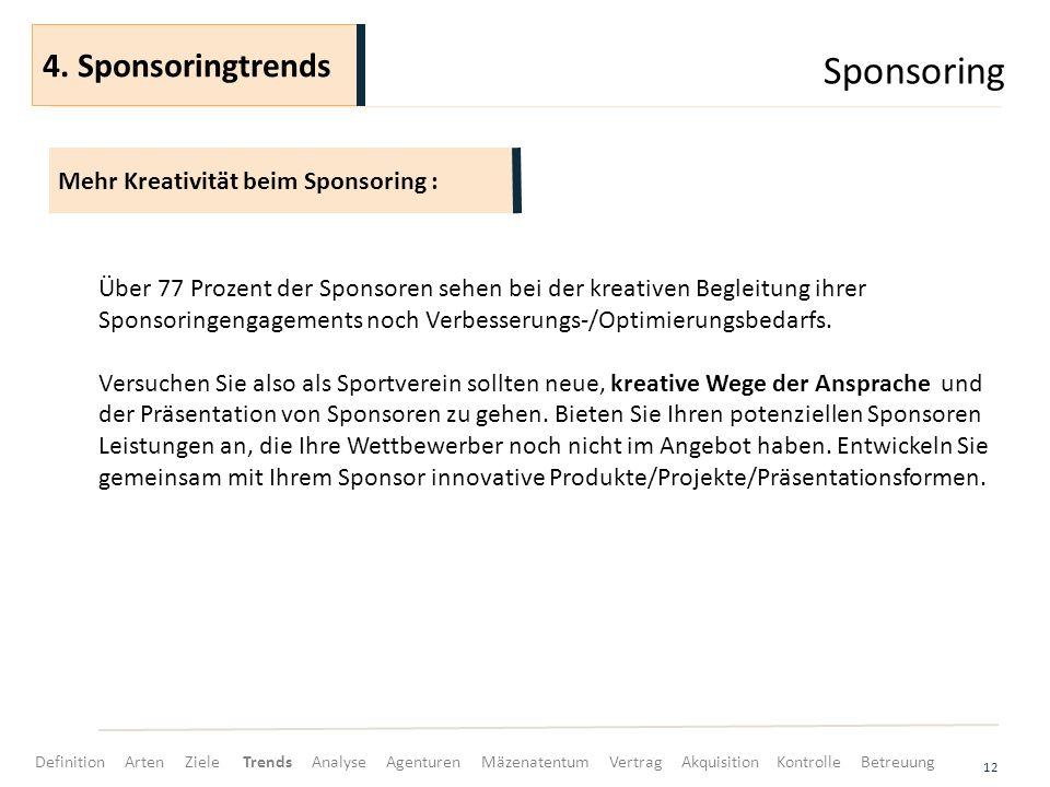 Sponsoring 12 Über 77 Prozent der Sponsoren sehen bei der kreativen Begleitung ihrer Sponsoringengagements noch Verbesserungs-/Optimierungsbedarfs.