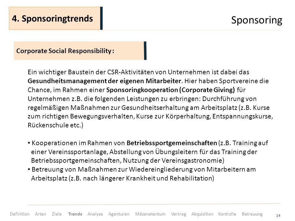 Sponsoring 14 Ein wichtiger Baustein der CSR-Aktivitäten von Unternehmen ist dabei das Gesundheitsmanagement der eigenen Mitarbeiter. Hier haben Sport