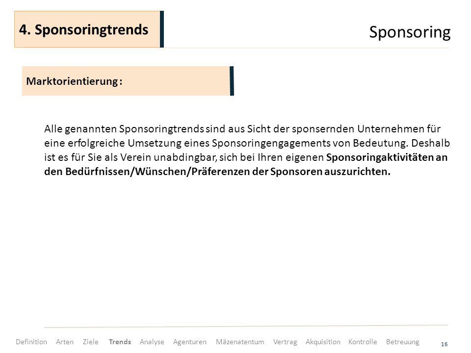 Sponsoring 16 Alle genannten Sponsoringtrends sind aus Sicht der sponsernden Unternehmen für eine erfolgreiche Umsetzung eines Sponsoringengagements v