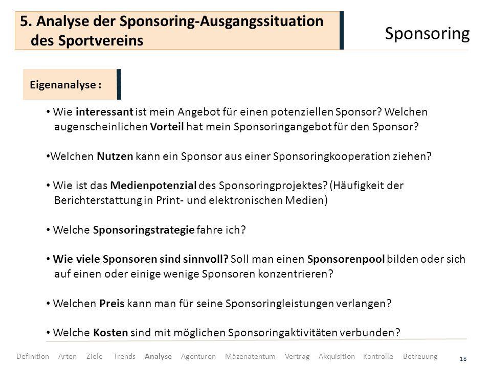 Sponsoring 18 Wie interessant ist mein Angebot für einen potenziellen Sponsor? Welchen augenscheinlichen Vorteil hat mein Sponsoringangebot für den Sp