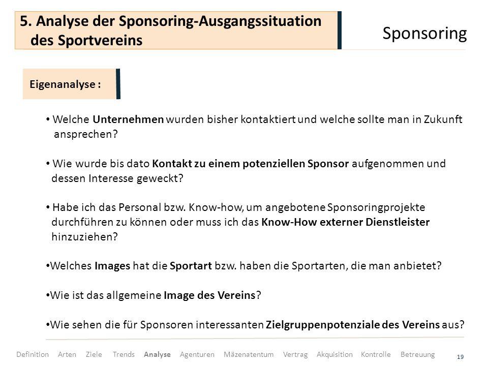 Sponsoring 19 Welche Unternehmen wurden bisher kontaktiert und welche sollte man in Zukunft ansprechen? Wie wurde bis dato Kontakt zu einem potenziell