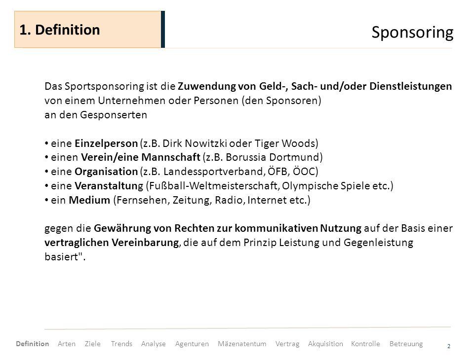 Sponsoring 2 Das Sportsponsoring ist die Zuwendung von Geld-, Sach- und/oder Dienstleistungen von einem Unternehmen oder Personen (den Sponsoren) an den Gesponserten eine Einzelperson (z.B.