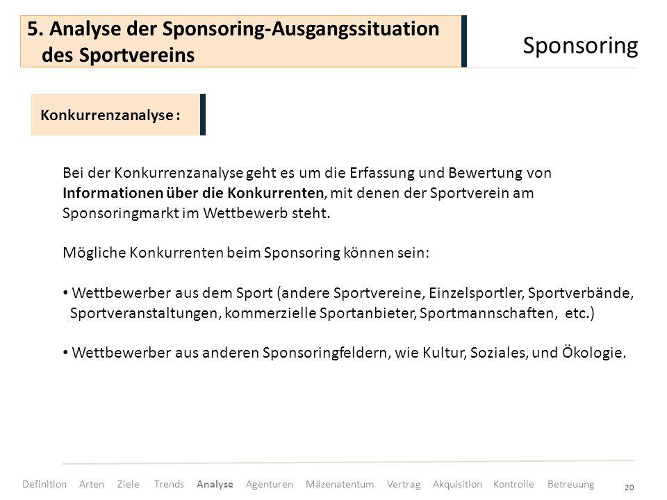 Sponsoring 20 Bei der Konkurrenzanalyse geht es um die Erfassung und Bewertung von Informationen über die Konkurrenten, mit denen der Sportverein am Sponsoringmarkt im Wettbewerb steht.