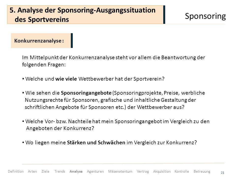 Sponsoring 21 Im Mittelpunkt der Konkurrenzanalyse steht vor allem die Beantwortung der folgenden Fragen: Welche und wie viele Wettbewerber hat der Sp