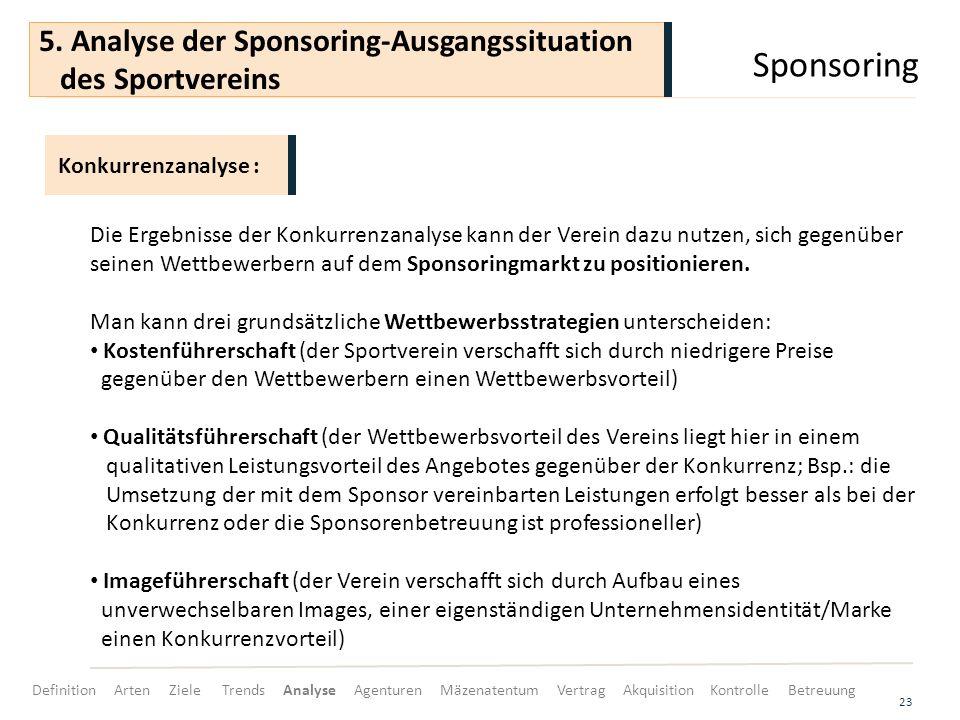 Sponsoring 23 Die Ergebnisse der Konkurrenzanalyse kann der Verein dazu nutzen, sich gegenüber seinen Wettbewerbern auf dem Sponsoringmarkt zu positionieren.