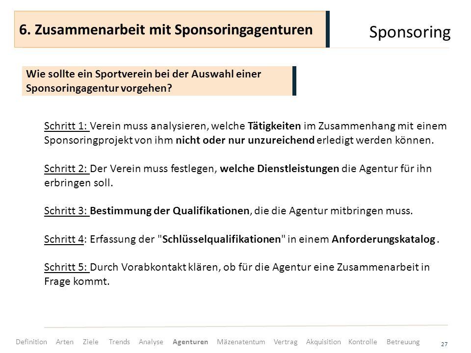 Sponsoring 27 Schritt 1: Verein muss analysieren, welche Tätigkeiten im Zusammenhang mit einem Sponsoringprojekt von ihm nicht oder nur unzureichend e