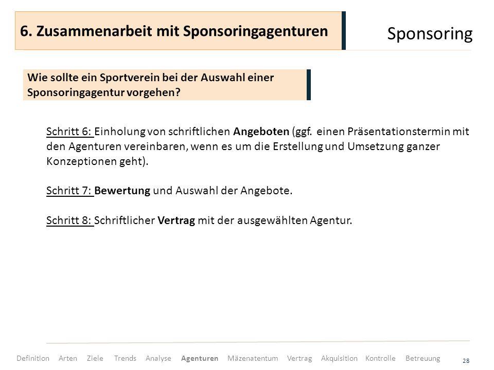 Sponsoring 28 Schritt 6: Einholung von schriftlichen Angeboten (ggf. einen Präsentationstermin mit den Agenturen vereinbaren, wenn es um die Erstellun