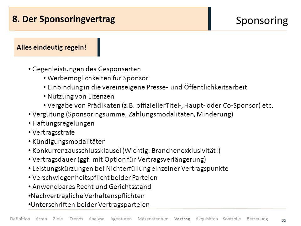 Sponsoring 35 Gegenleistungen des Gesponserten Werbemöglichkeiten für Sponsor Einbindung in die vereinseigene Presse- und Öffentlichkeitsarbeit Nutzung von Lizenzen Vergabe von Prädikaten (z.B.
