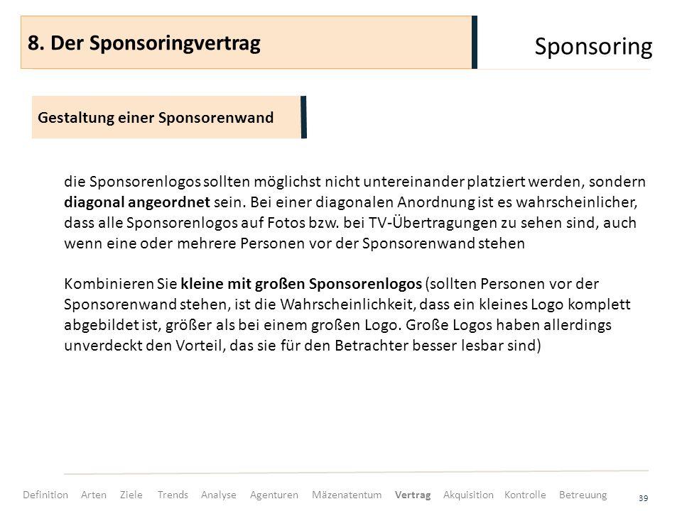 Sponsoring 39 die Sponsorenlogos sollten möglichst nicht untereinander platziert werden, sondern diagonal angeordnet sein. Bei einer diagonalen Anordn