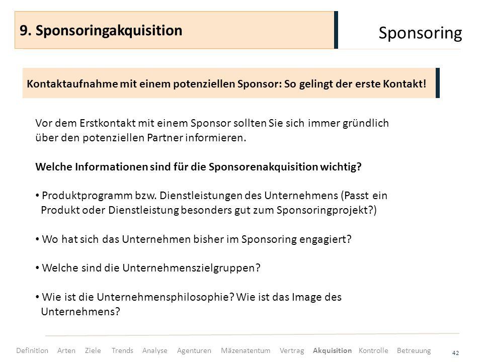 Sponsoring 42 Kontaktaufnahme mit einem potenziellen Sponsor: So gelingt der erste Kontakt! 9. Sponsoringakquisition Vor dem Erstkontakt mit einem Spo
