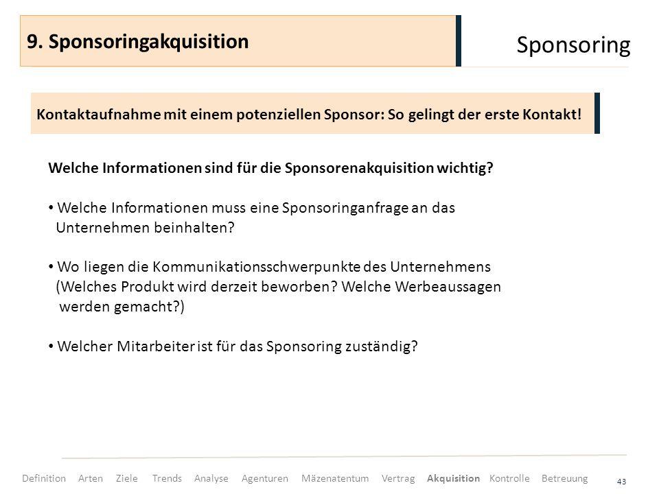 Sponsoring 43 Kontaktaufnahme mit einem potenziellen Sponsor: So gelingt der erste Kontakt! 9. Sponsoringakquisition Welche Informationen sind für die