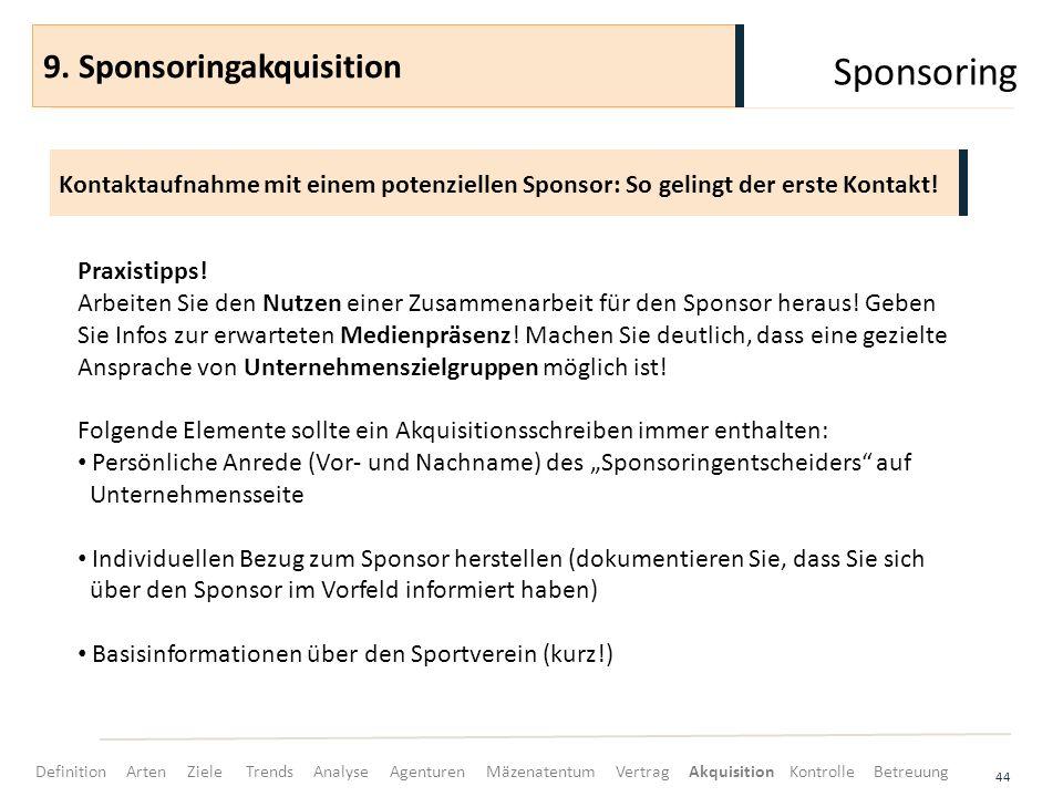 Sponsoring 44 Kontaktaufnahme mit einem potenziellen Sponsor: So gelingt der erste Kontakt! 9. Sponsoringakquisition Praxistipps! Arbeiten Sie den Nut
