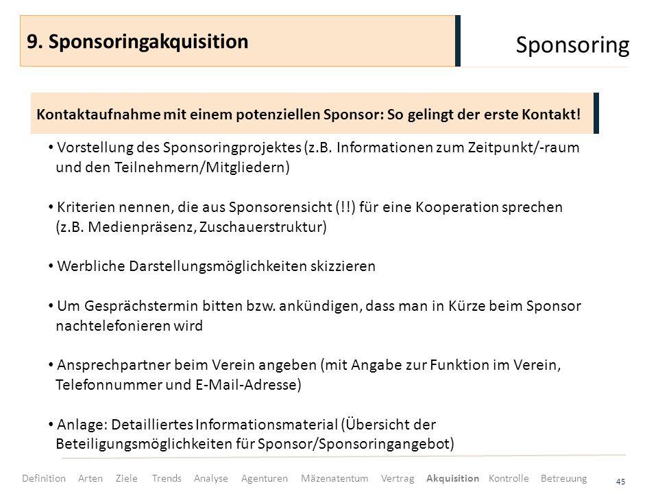 Sponsoring 45 Kontaktaufnahme mit einem potenziellen Sponsor: So gelingt der erste Kontakt! 9. Sponsoringakquisition Vorstellung des Sponsoringprojekt