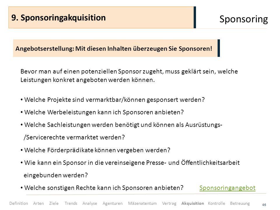 Sponsoring 46 Angebotserstellung: Mit diesen Inhalten überzeugen Sie Sponsoren! 9. Sponsoringakquisition Bevor man auf einen potenziellen Sponsor zuge