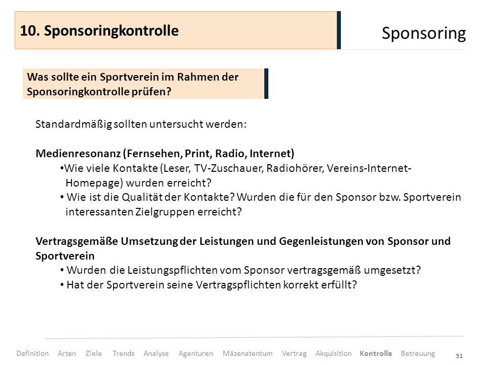 Sponsoring 51 Was sollte ein Sportverein im Rahmen der Sponsoringkontrolle prüfen? 10. Sponsoringkontrolle Standardmäßig sollten untersucht werden: Me