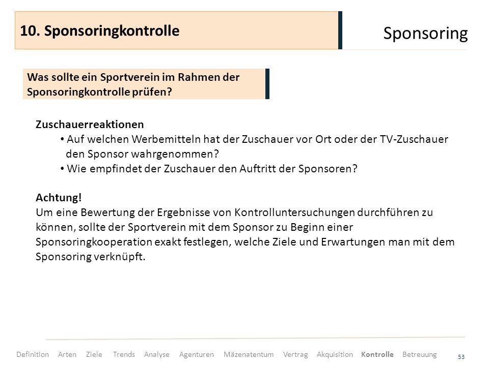 Sponsoring 53 Was sollte ein Sportverein im Rahmen der Sponsoringkontrolle prüfen? 10. Sponsoringkontrolle Zuschauerreaktionen Auf welchen Werbemittel