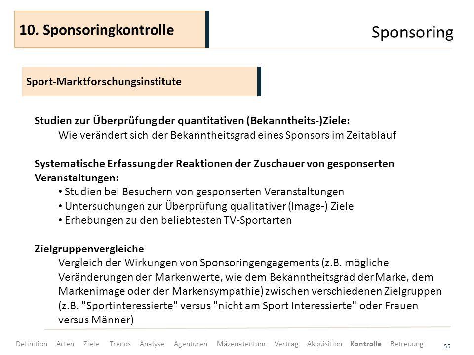 Sponsoring 55 Sport-Marktforschungsinstitute 10. Sponsoringkontrolle Studien zur Überprüfung der quantitativen (Bekanntheits-)Ziele: Wie verändert sic