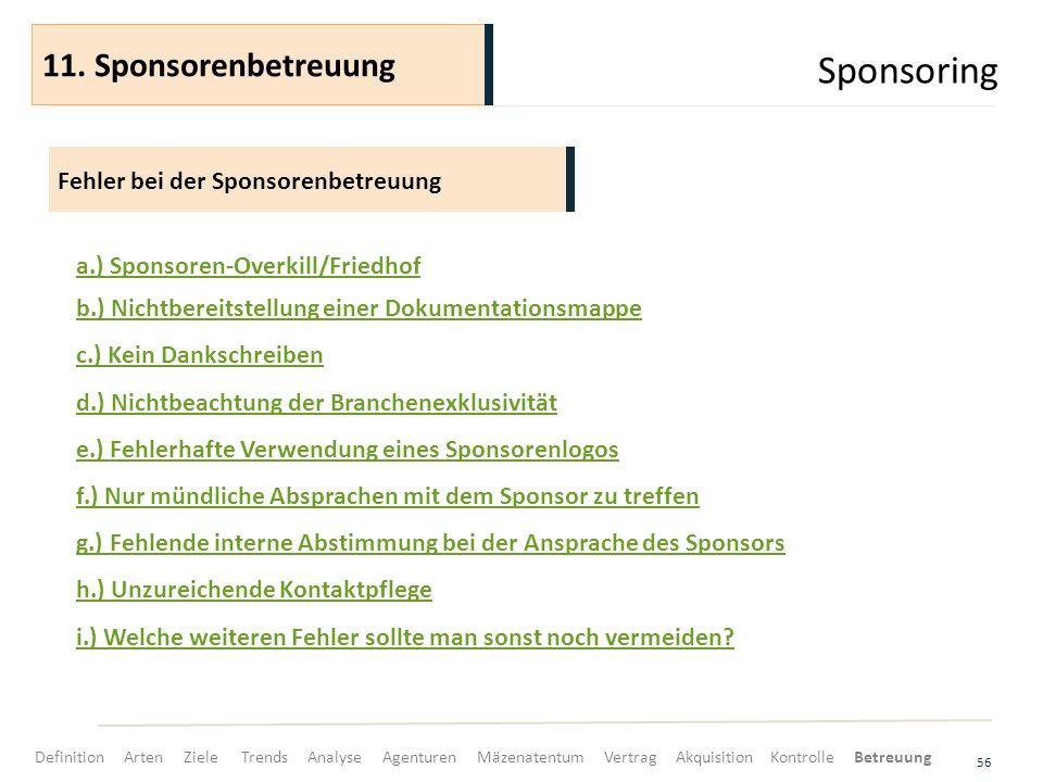 Sponsoring 56 Fehler bei der Sponsorenbetreuung 11. Sponsorenbetreuung a.) Sponsoren-Overkill/Friedhof b.) Nichtbereitstellung einer Dokumentationsmap