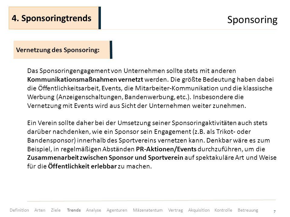 Sponsoring 7 Das Sponsoringengagement von Unternehmen sollte stets mit anderen Kommunikationsmaßnahmen vernetzt werden.
