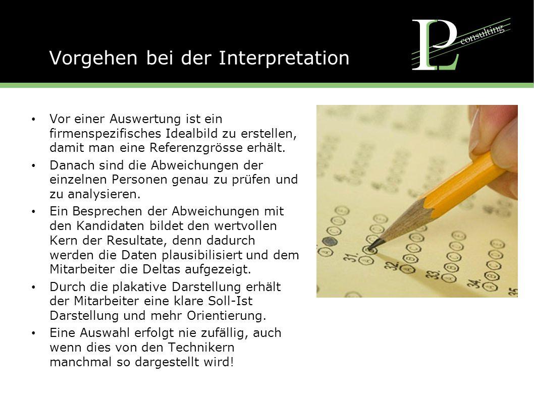 Vorgehen bei der Interpretation Vor einer Auswertung ist ein firmenspezifisches Idealbild zu erstellen, damit man eine Referenzgrösse erhält.