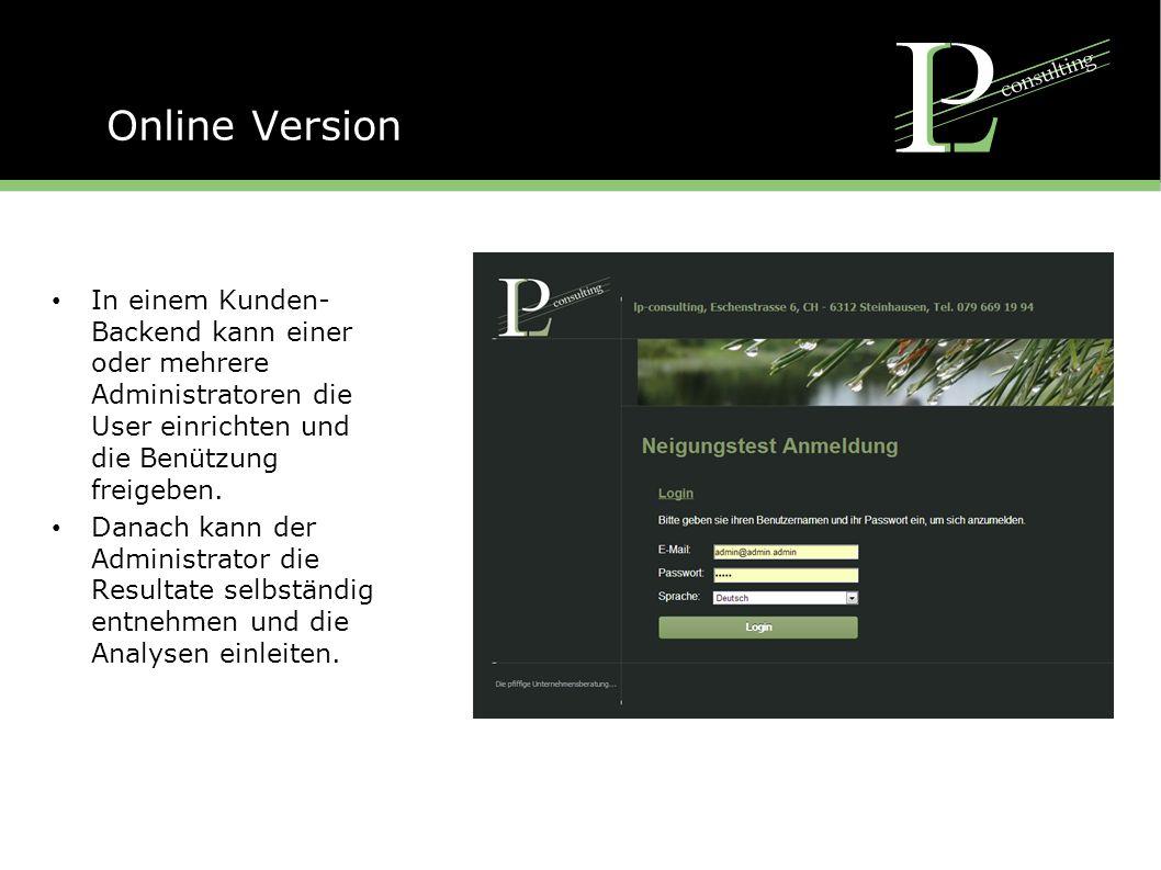 Online Version In einem Kunden- Backend kann einer oder mehrere Administratoren die User einrichten und die Benützung freigeben.