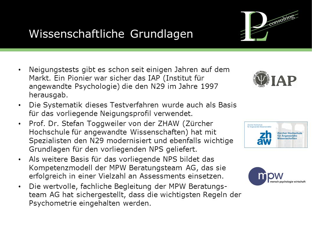 Die Dimensionen des NPS From the practical view