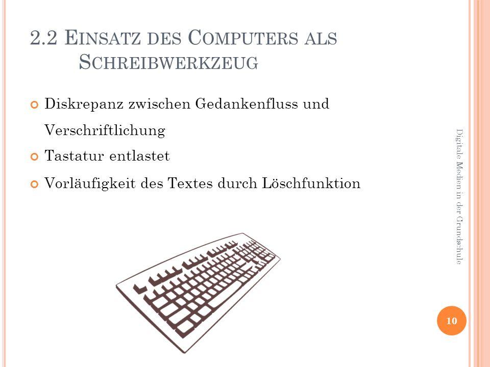 2.2 E INSATZ DES C OMPUTERS ALS S CHREIBWERKZEUG Diskrepanz zwischen Gedankenfluss und Verschriftlichung Tastatur entlastet Vorläufigkeit des Textes durch Löschfunktion 10 Digitale Medien in der Grundschule