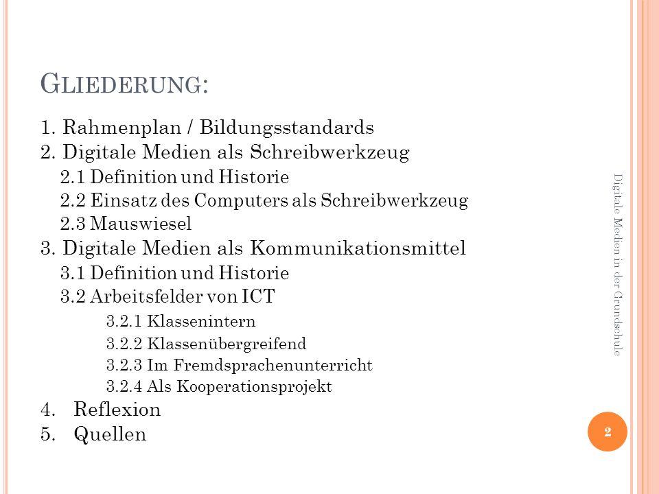3.2 A RBEITSFELDER VON ICT 3.2.3 im Fremdsprachenunterricht Partnerschaften mit fremdsprachigen Schülern Ergänzung von Lehrbüchern Kommunikation mit Gleichaltrigen gut geeignet (motivierend) 3.2.4 als Kooperationsprojekt Geschichtenwurm Freie Entwicklung von Ideen Lesekompetenz/-verstehen wird gefördert 23 Digitale Medien in der Grundschule