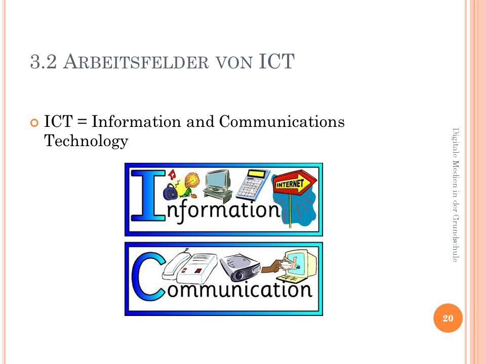 3.2 A RBEITSFELDER VON ICT ICT = Information and Communications Technology 20 Digitale Medien in der Grundschule
