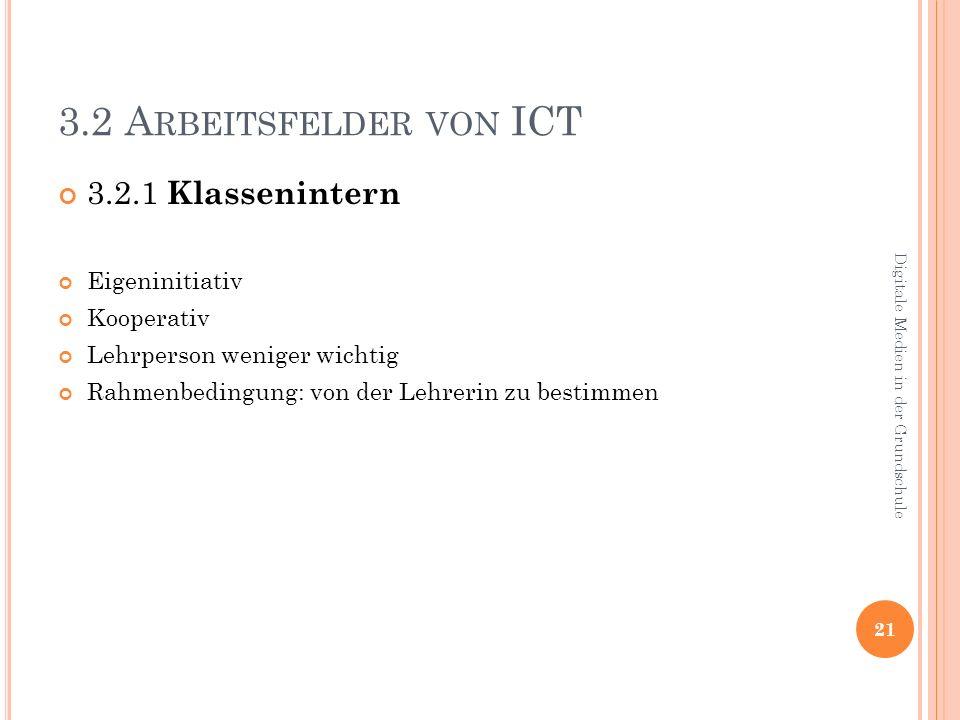 3.2 A RBEITSFELDER VON ICT 3.2.1 Klassenintern Eigeninitiativ Kooperativ Lehrperson weniger wichtig Rahmenbedingung: von der Lehrerin zu bestimmen 21 Digitale Medien in der Grundschule
