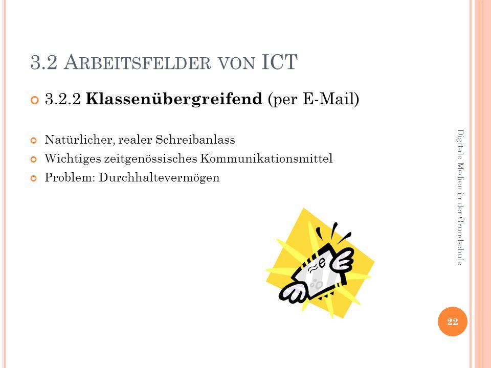 3.2 A RBEITSFELDER VON ICT 3.2.2 Klassenübergreifend (per E-Mail) Natürlicher, realer Schreibanlass Wichtiges zeitgenössisches Kommunikationsmittel Problem: Durchhaltevermögen 22 Digitale Medien in der Grundschule