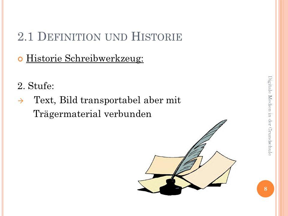 3.1 D EFINITION UND H ISTORIE Historie Kommunikationsmittel: Schreibtelegraph Telefon Internet 19 Digitale Medien in der Grundschule