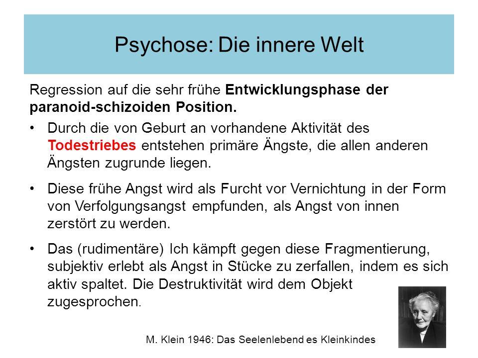 Regression auf die sehr frühe Entwicklungsphase der paranoid-schizoiden Position. Durch die von Geburt an vorhandene Aktivität des Todestriebes entste