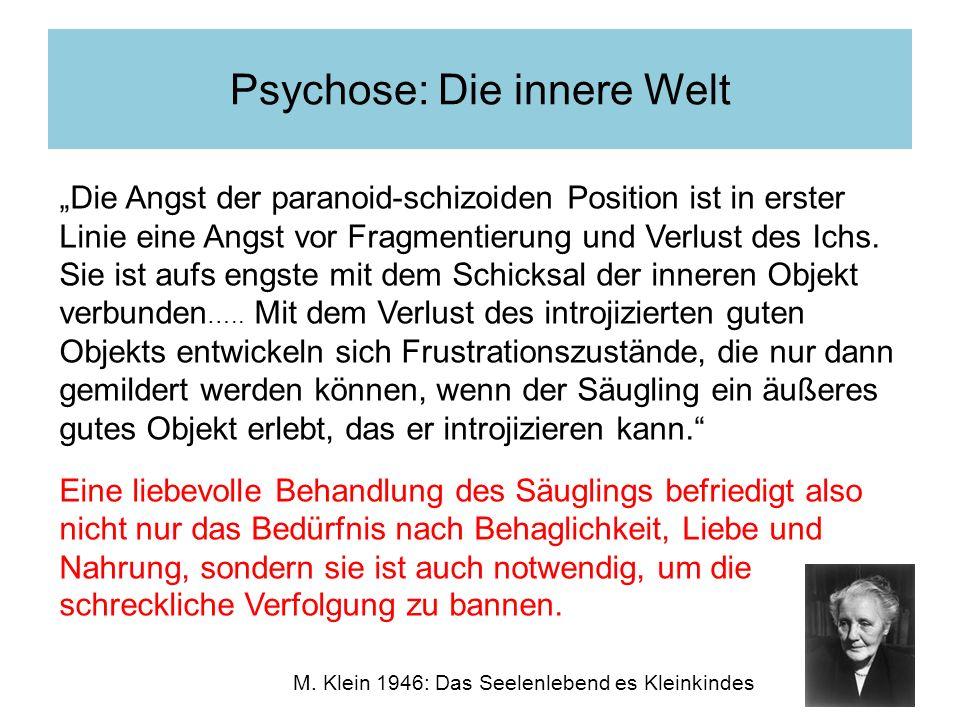 Psychose: Die innere Welt M. Klein 1946: Das Seelenlebend es Kleinkindes Die Angst der paranoid-schizoiden Position ist in erster Linie eine Angst vor