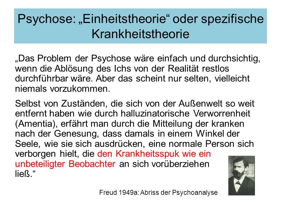 Das Problem der Psychose wäre einfach und durchsichtig, wenn die Ablösung des Ichs von der Realität restlos durchführbar wäre. Aber das scheint nur se