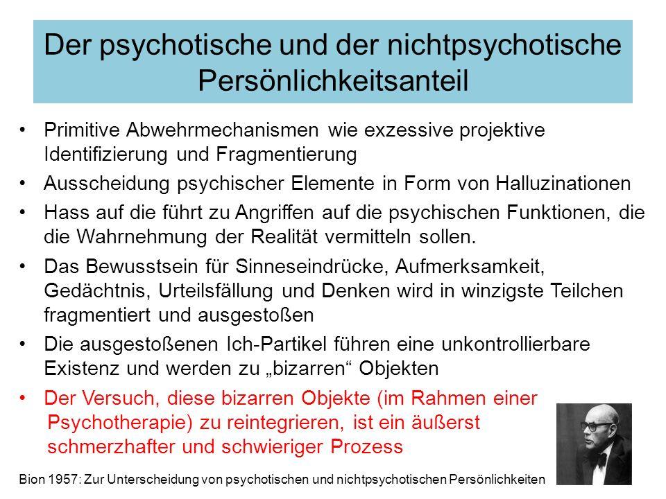 Primitive Abwehrmechanismen wie exzessive projektive Identifizierung und Fragmentierung Ausscheidung psychischer Elemente in Form von Halluzinationen