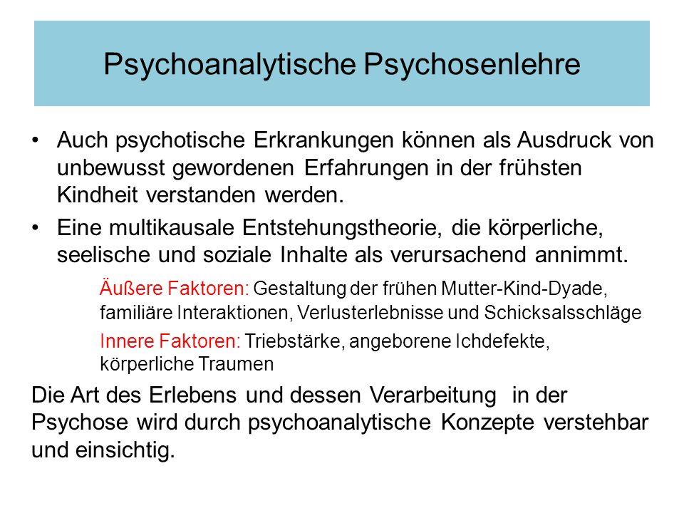 Auch psychotische Erkrankungen können als Ausdruck von unbewusst gewordenen Erfahrungen in der frühsten Kindheit verstanden werden. Eine multikausale