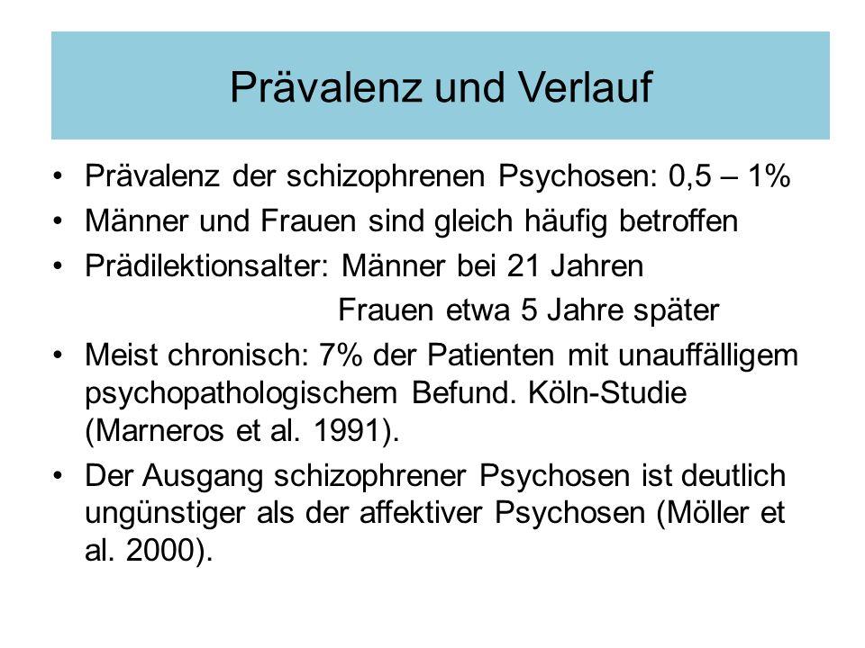Prävalenz der schizophrenen Psychosen: 0,5 – 1% Männer und Frauen sind gleich häufig betroffen Prädilektionsalter: Männer bei 21 Jahren Frauen etwa 5