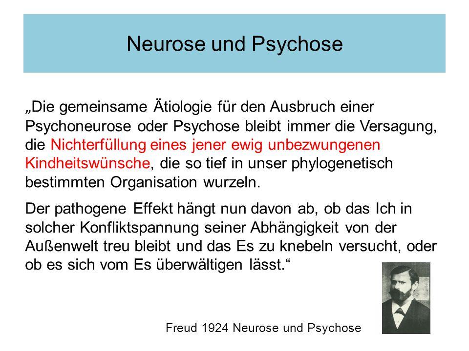 Die gemeinsame Ätiologie für den Ausbruch einer Psychoneurose oder Psychose bleibt immer die Versagung, die Nichterfüllung eines jener ewig unbezwunge