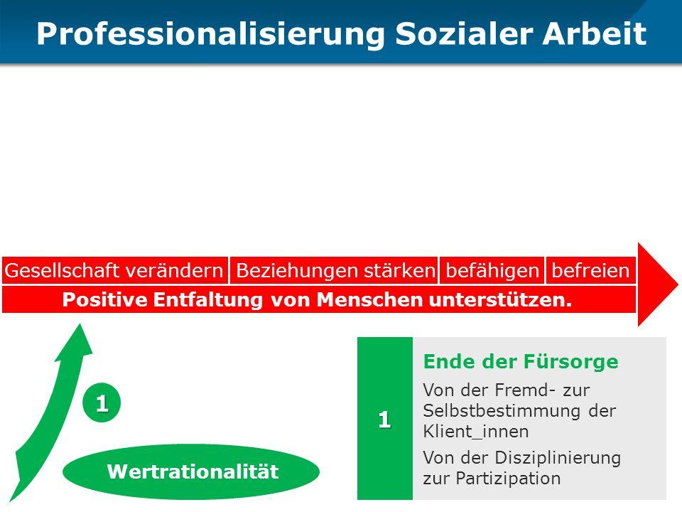 Professionalisierung Sozialer Arbeit Gesellschaft verändernBeziehungen stärkenbefähigenbefreien Positive Entfaltung von Menschen unterstützen. Ende de