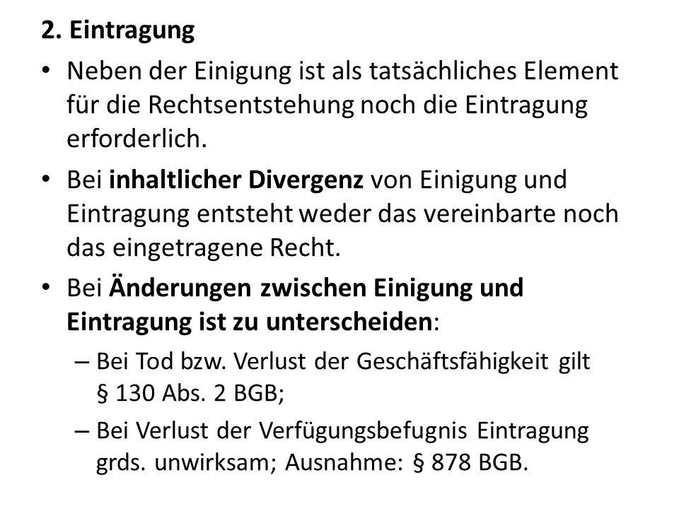 Beispiel (BGHZ 28, 182): V hat K am 27.11.1993 eine Auflassungsvormerkung bewilligt und am selben Tag Antrag auf Eintragung beim Grundbuchamt gestellt.