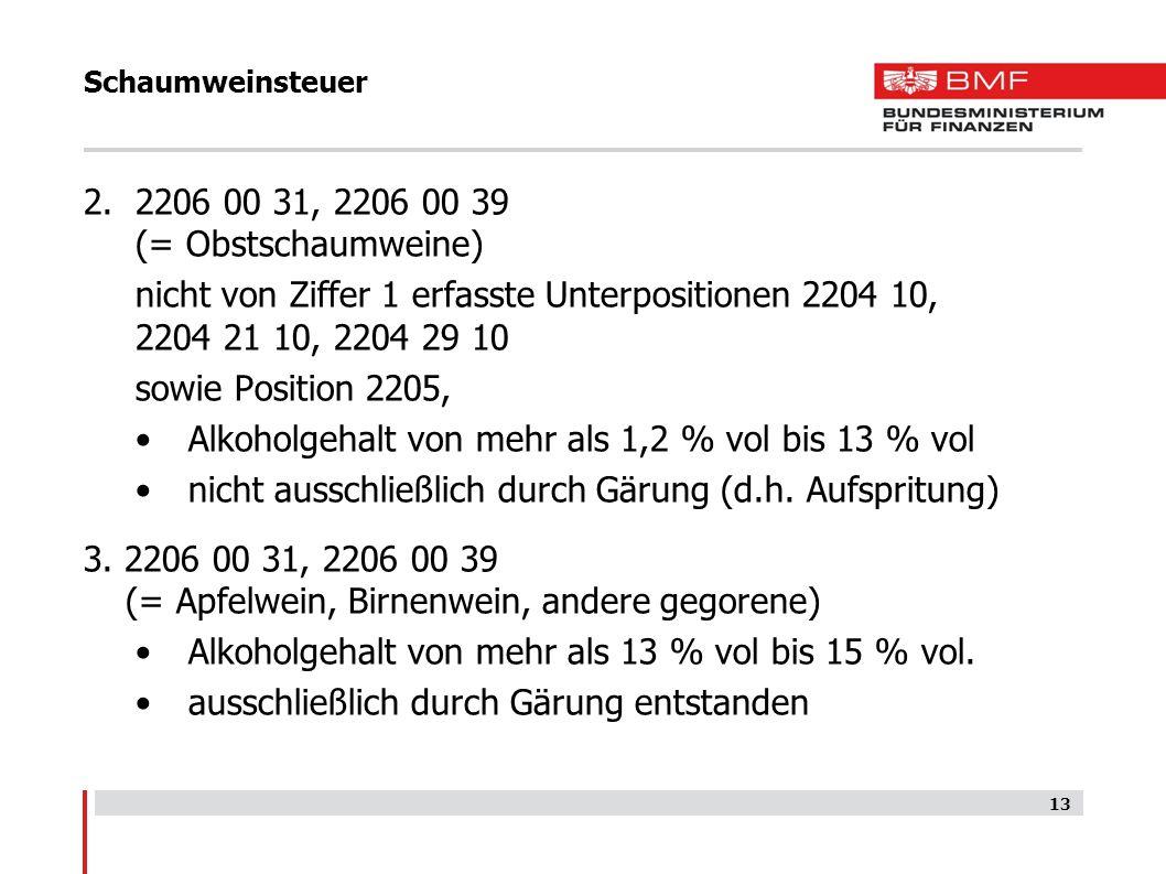 Schaumweinsteuer 13 2.2206 00 31, 2206 00 39 (= Obstschaumweine) nicht von Ziffer 1 erfasste Unterpositionen 2204 10, 2204 21 10, 2204 29 10 sowie Pos