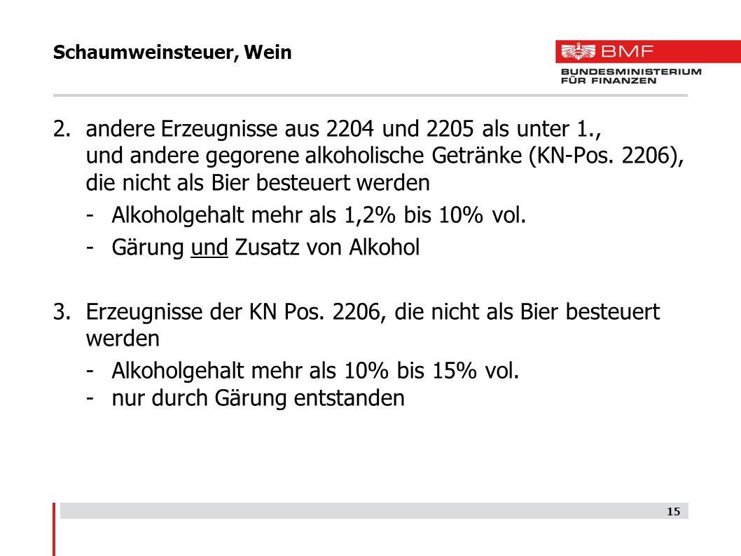 Schaumweinsteuer, Wein 15 2.andere Erzeugnisse aus 2204 und 2205 als unter 1., und andere gegorene alkoholische Getränke (KN-Pos. 2206), die nicht als