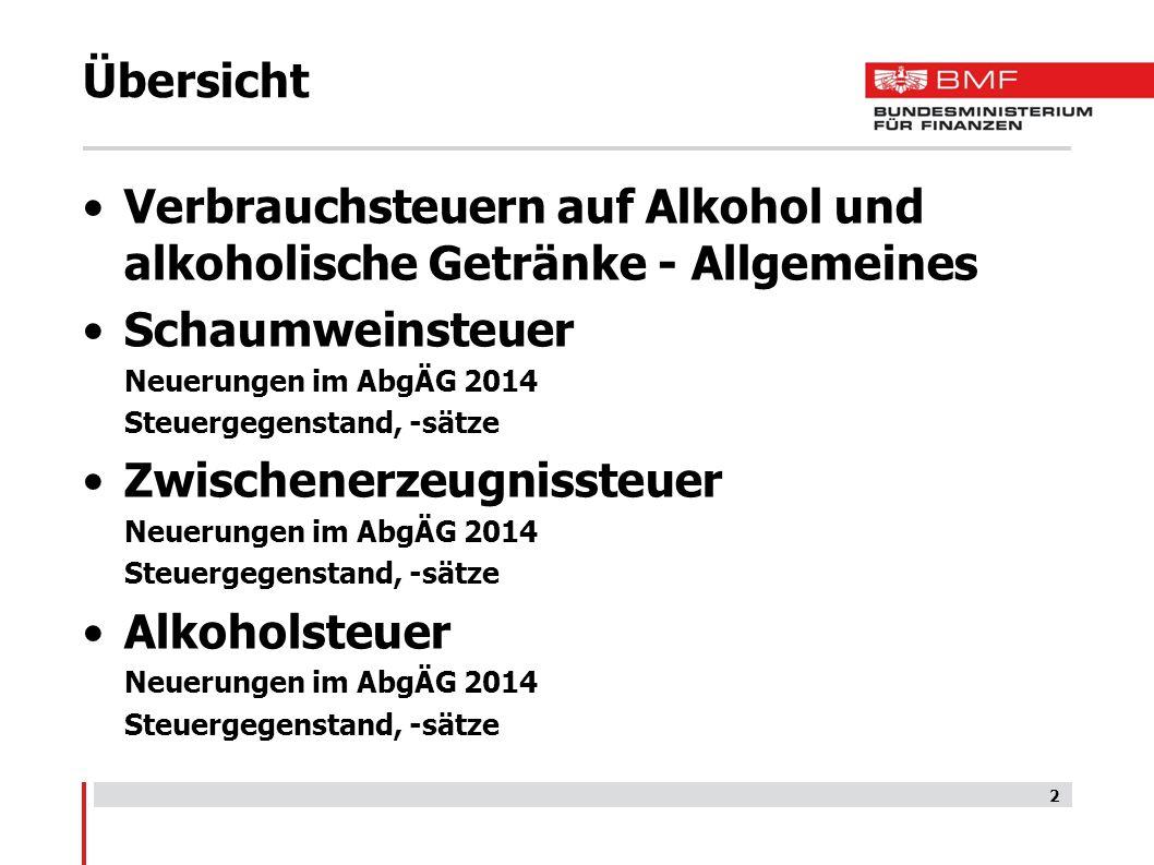 2 Übersicht Verbrauchsteuern auf Alkohol und alkoholische Getränke - Allgemeines Schaumweinsteuer Neuerungen im AbgÄG 2014 Steuergegenstand, -sätze Zw