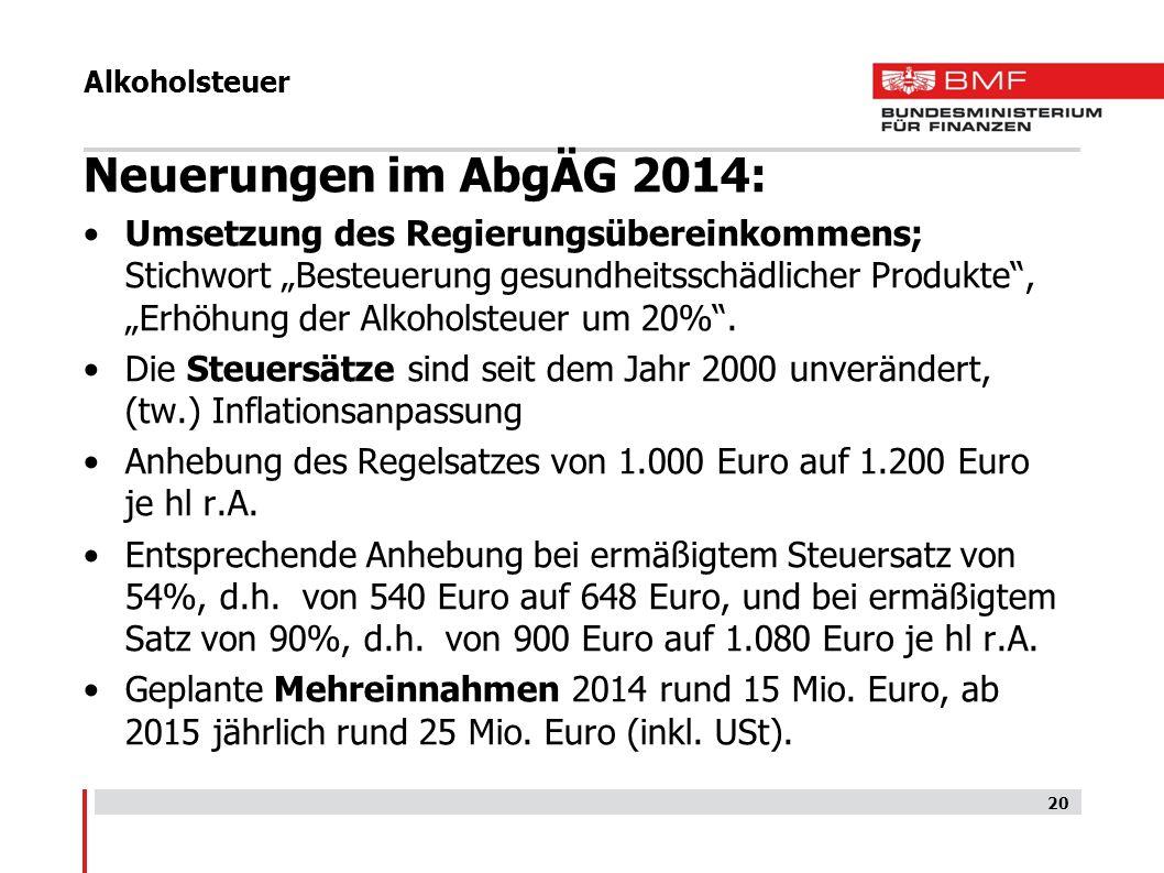 Alkoholsteuer Neuerungen im AbgÄG 2014: Umsetzung des Regierungsübereinkommens; Stichwort Besteuerung gesundheitsschädlicher Produkte, Erhöhung der Al